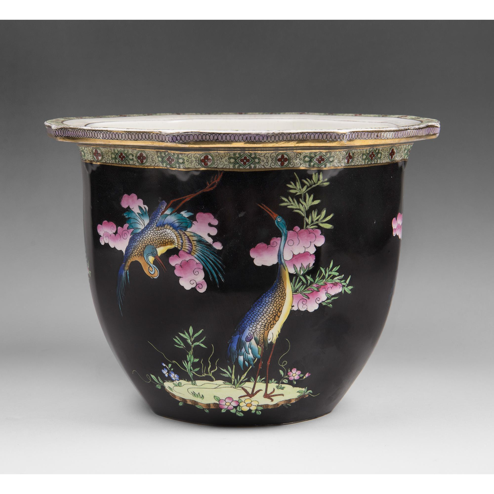 Early 20th C. English Mailing Cetem Ware Jardiniere