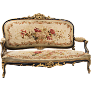 French Rococo Louis XV Canapé Or Settee With Aubusson Tapestry