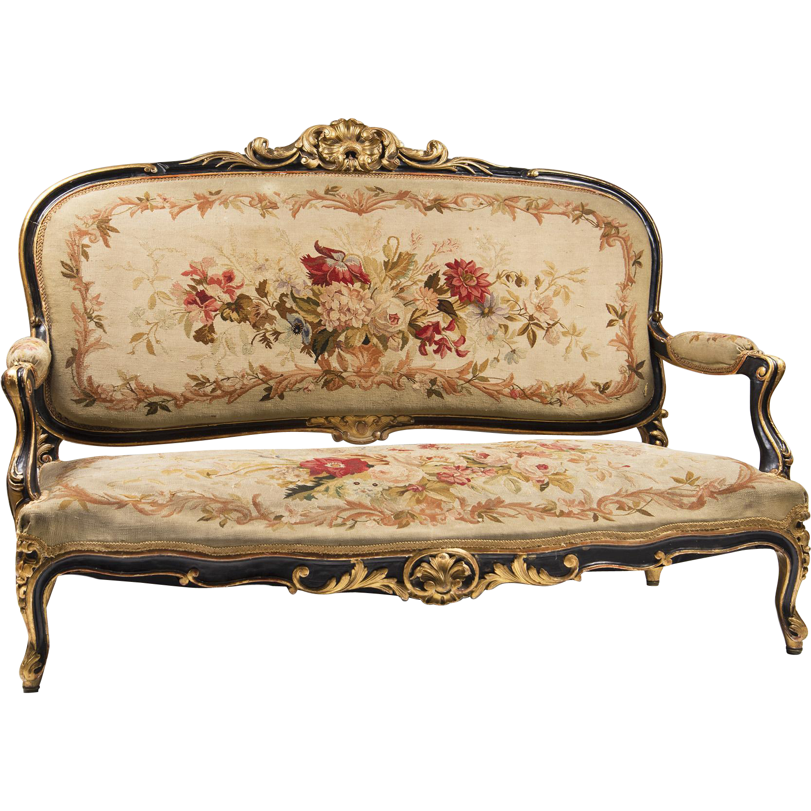 French Rococo Louis XV Canapé Or Settee With Aubusson Tapestry ...