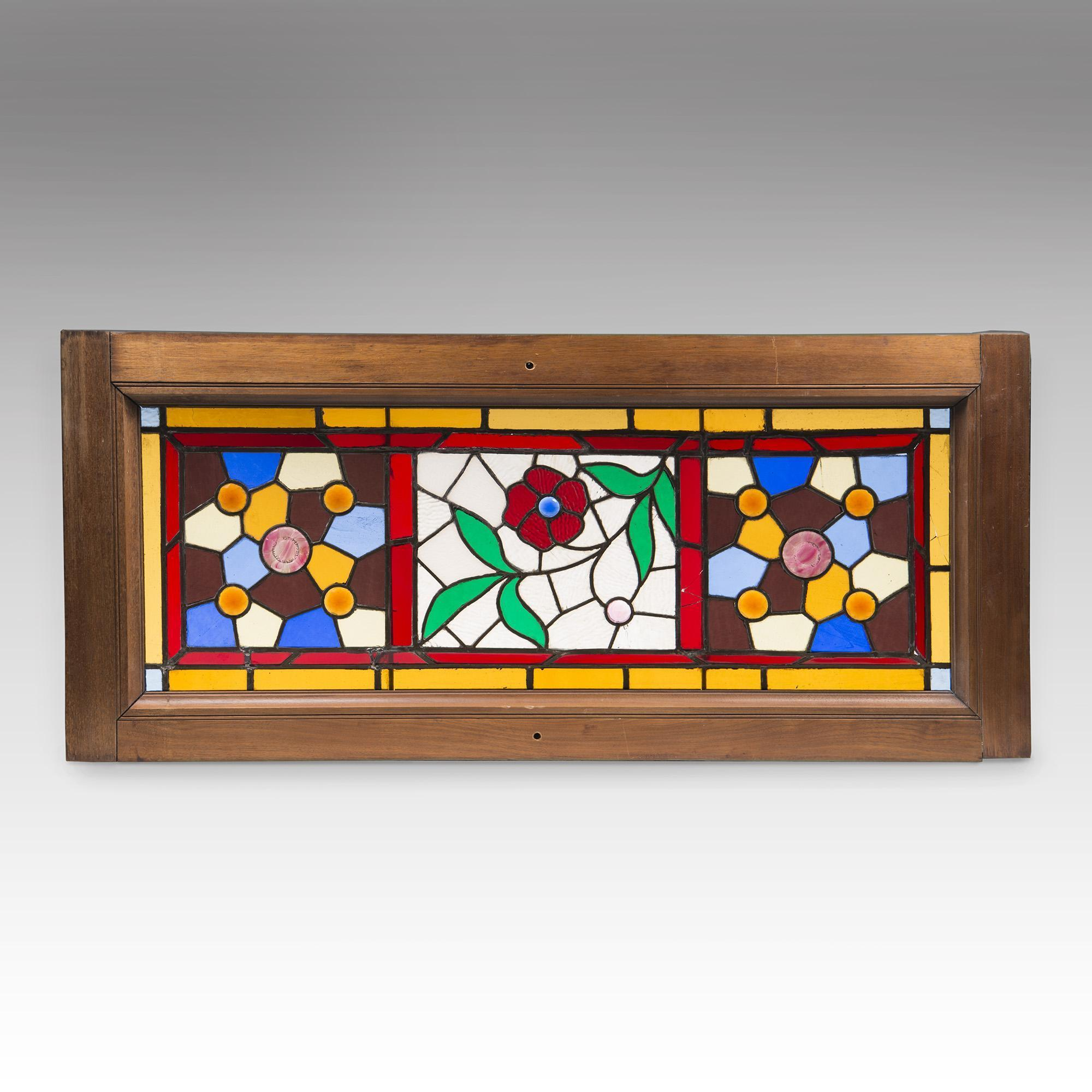 Late Victorian Stained Glass Window In Frame