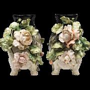 Pair of 19th C. French Barbotine Vases
