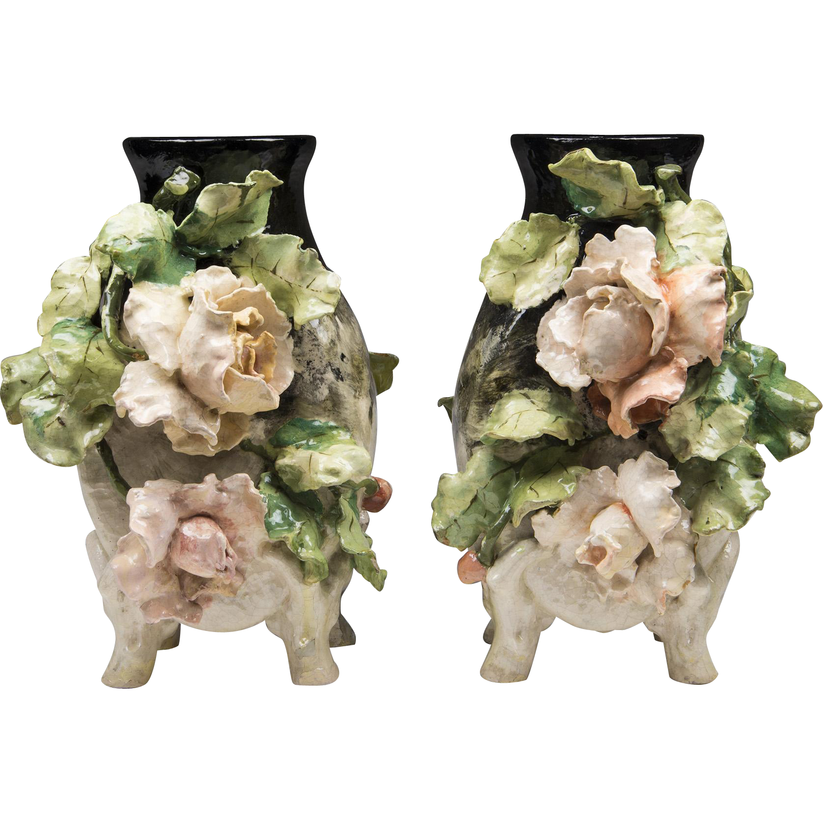 Pair of 19th C. French Barbotine Vases