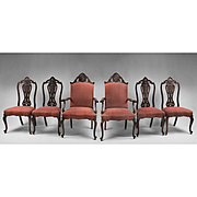 Set of Six Carved French Louis XV Style Dining Room Chairs