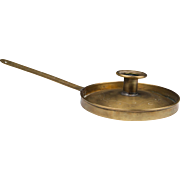 18th C. Dutch Sheet Brass Frying Pan Chamberstick