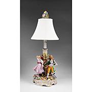 Dresden Von Schierholz Lamp, Figures Around Maypole