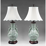 Mid 20th C. Pair Of Chinese Celadon Vases Mounted As Lamps