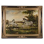 Large Wildlife Pastoral Oil Painting Of Zebras By M. P. Elliott