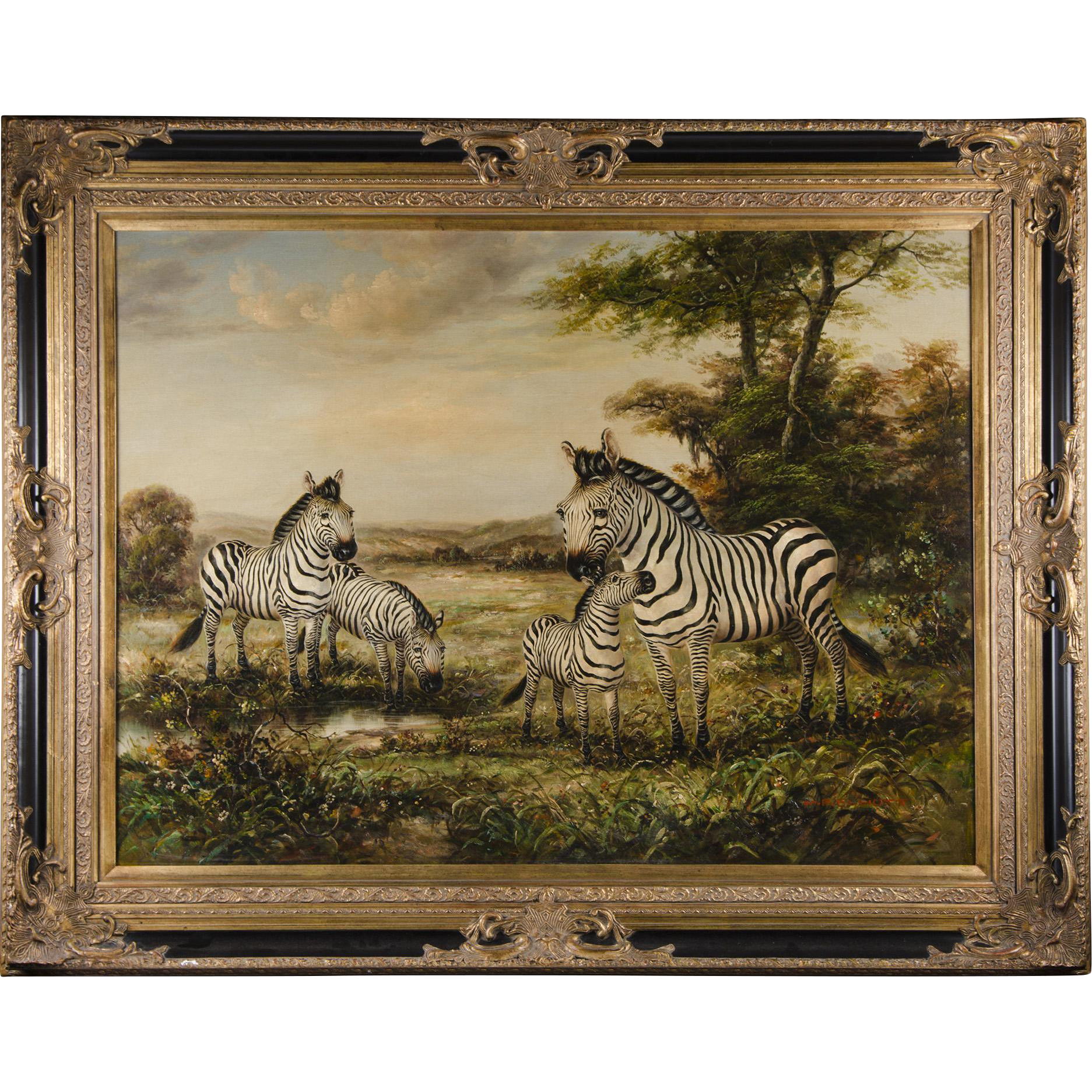 Large Wildlife Pastoral Oil Painting Of Zebras By M. P. Elliott