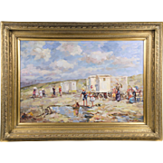 Vintage Impressionist Oil On Canvas Of A Beach And Bathing Machines