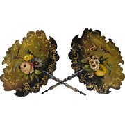 Pair of 19th C. Victorian Papier Mache Hand Painted Face Screens