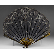Large Late 19th C. French Lace Embroidered Fan