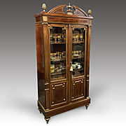 19th C. Baltic Neoclassical Bibliothèque Or Bookcase Inlaid With Brass