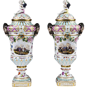 Pair Of 19th C. Neoclassical Bolted KPM Porcelain Urns With Covers