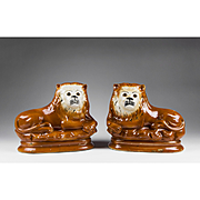 Matched Pair of 19th C. Staffordshire Recumbent Pottery Lions With Glass Eyes