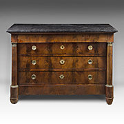 19th C. French Empire Flame Mahogany Commode