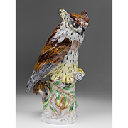Dresden Porcelain Figurine Of Owl