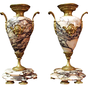 Pr. of Napoleon III Bronze Mounted Pink Marble Garniture Urns