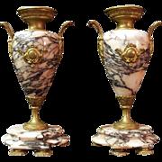 Pr. of Napoleon III Bronze Mounted Pink Marble Garniture Urns