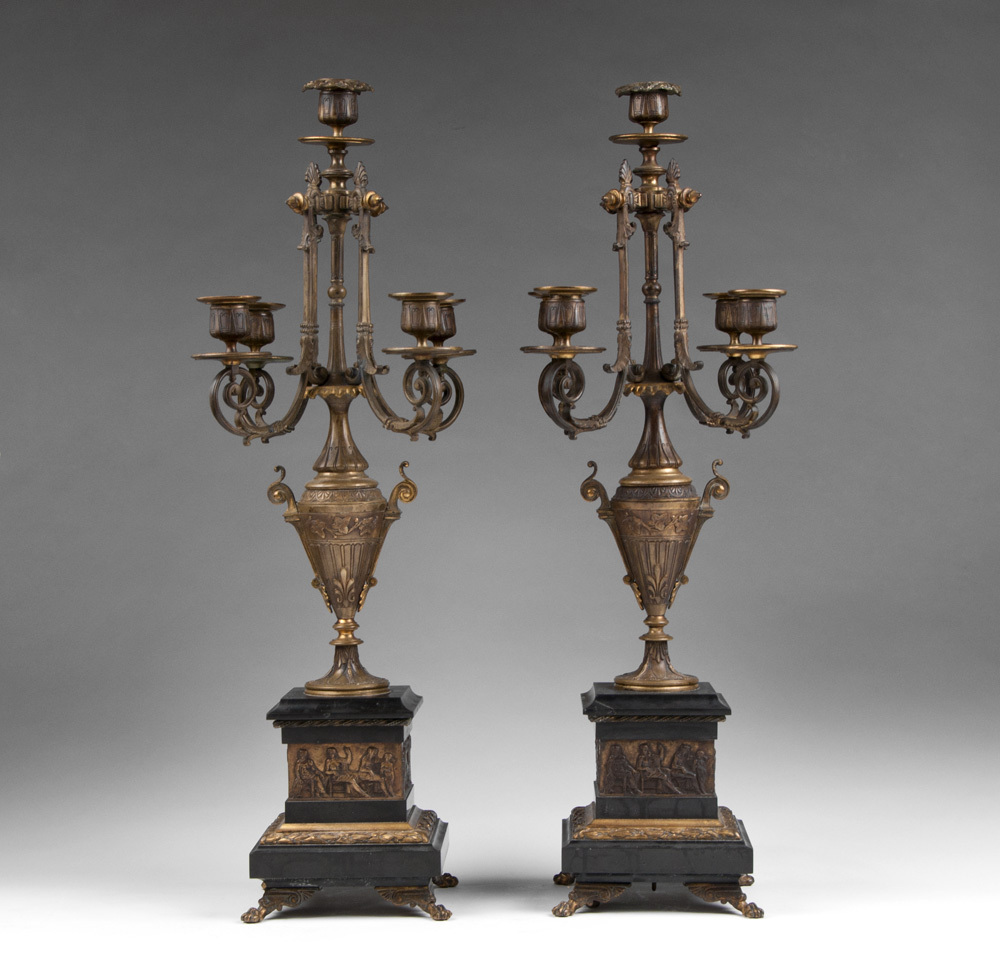 Pair of French Aesthetic Movement Bronze & Marble Candelabras