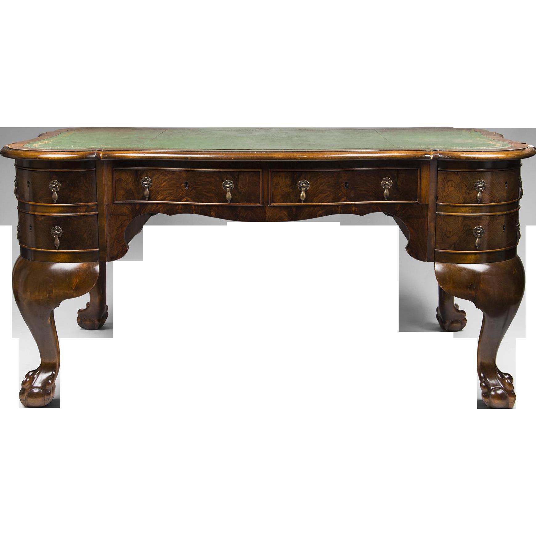 Leather Top Georgian Burr Walnut English Desk