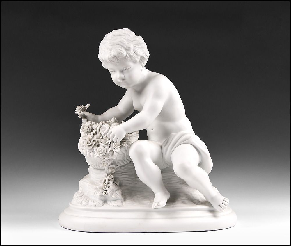 19th Century Samson & Cie French Biscuit Sculpture of Cherub