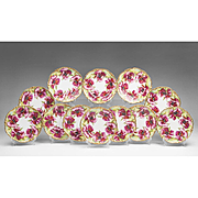 Set of 12 Jean Pouyat Limoges Floral Decorated Luncheon Plates