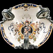 19th C. Italian Majolica Trilobated Wine Cistern Urbino Style