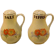 Hall China Orange Poppy Handled Shakers Salt Pepper MT