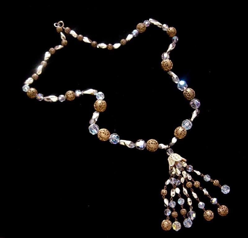 Vintage AB Crystal & Filigree Tassel Necklace