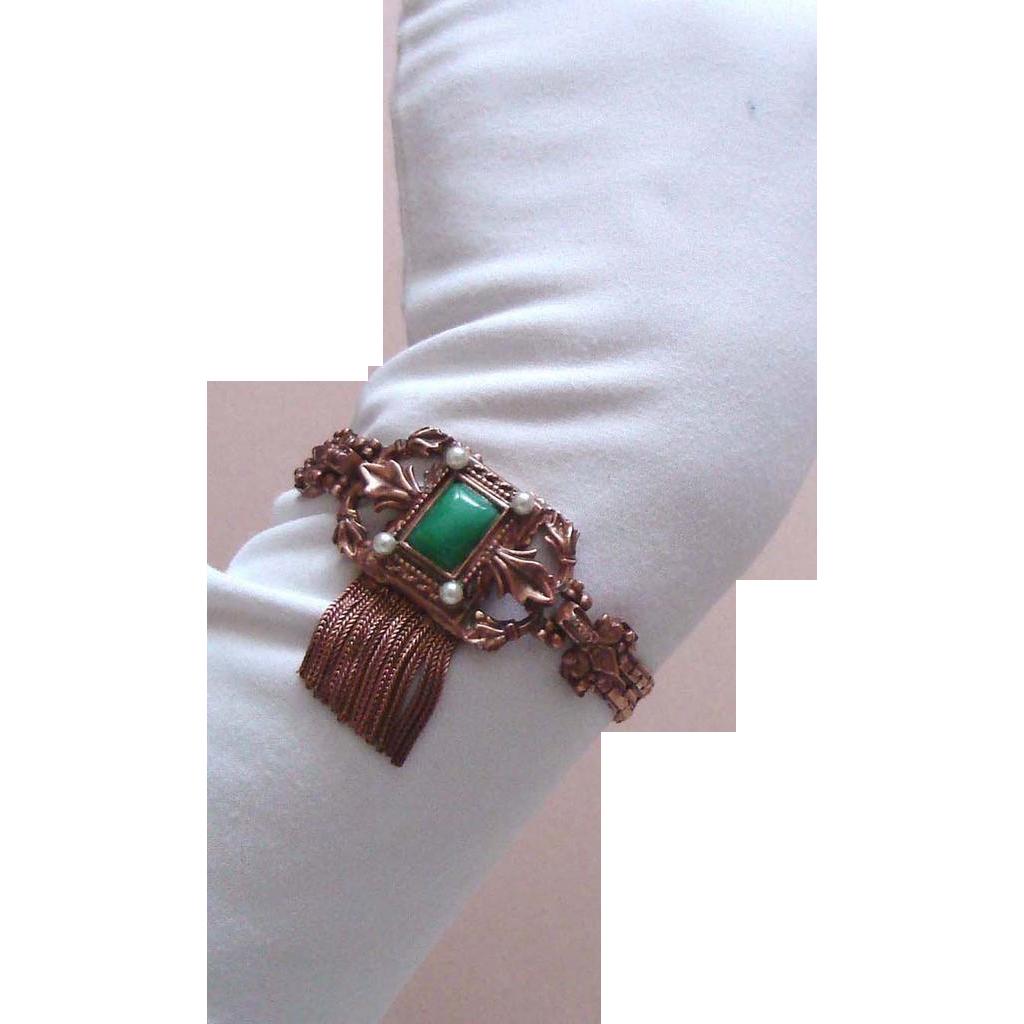 LAST CHANCE!  Ornate Vintage Coppertone Tassel Bracelet