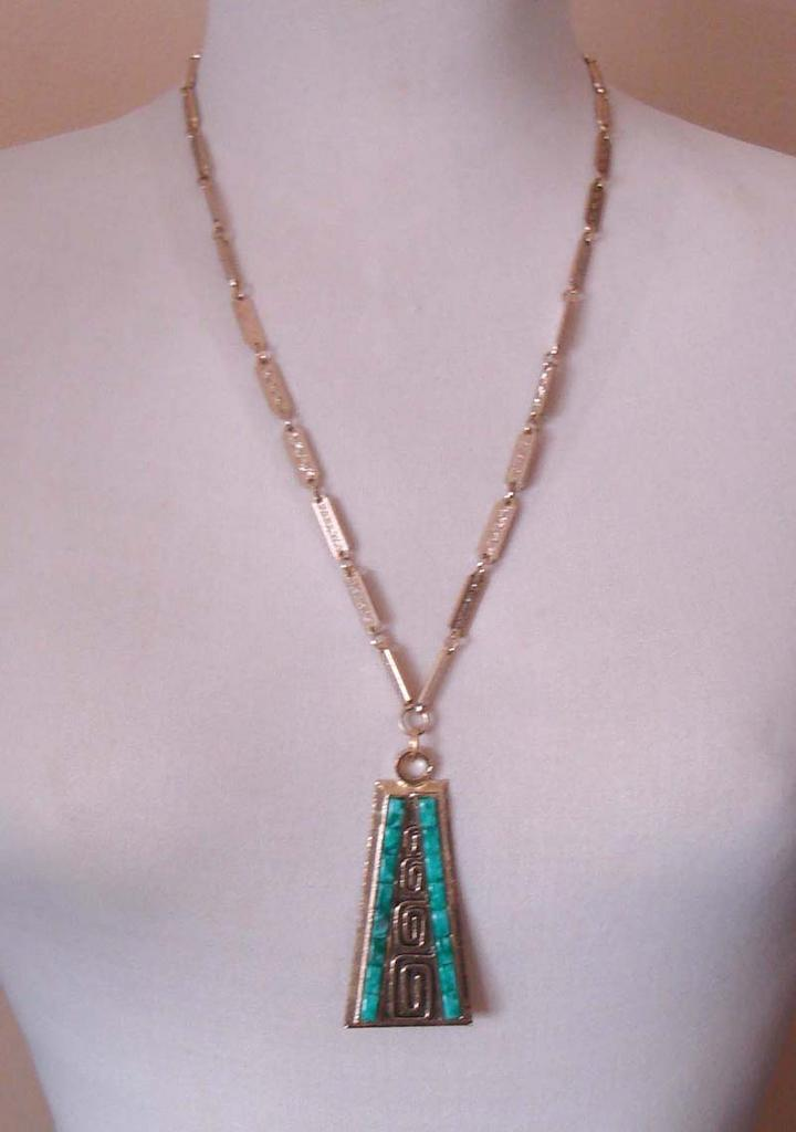 Impressive WHITING & DAVIS Egyptian Revival Style Necklace