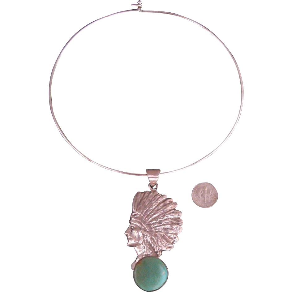 Large Indian Chief Pendant Necklace: Silvertone & Faux Turquoise: Southwestern Styling