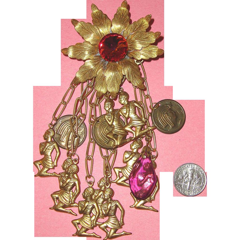Huge Egyptian Revival Dangle Brooch: Pink Glass & Goldtone Metal