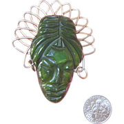Vintage Bakelite African Lady Face Brooch: Spinach Green: Deeply Carved