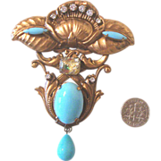 Glorious Revival-Style Brooch: Robin's-Egg Blue & Art Glass: Art Nouveau-Inspired