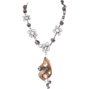 Crazy Loco Copper, Japanned Metal, & Ceramic-Bead Necklace: Modernist: C. 1950s-'60s