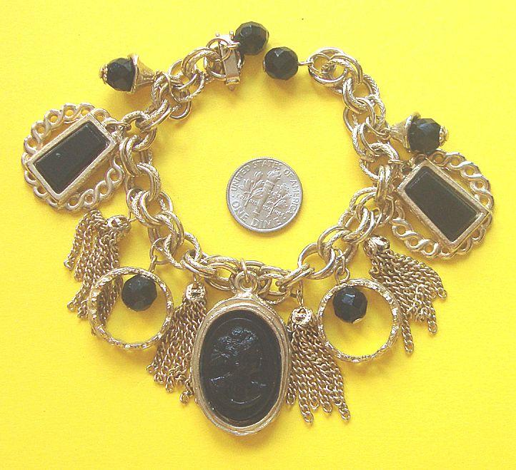 Black Cameo Tasseled Charm Bracelet: Victorian Flashback