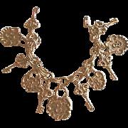 Charming Goldtone Lock & Key Charm Bracelet