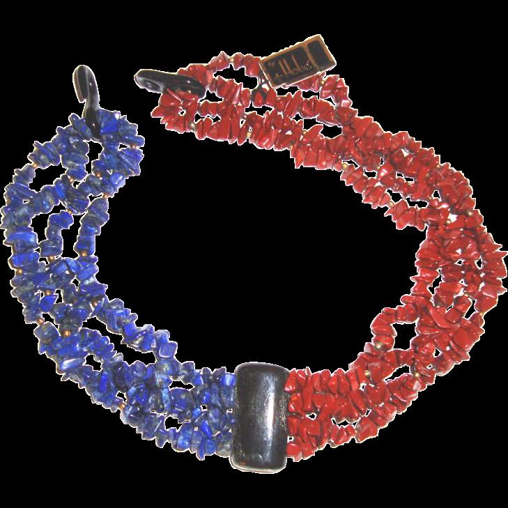 Hobé Glass Chips Lapis- & Blood-Coral-Colored Necklace: Mint w/Tag