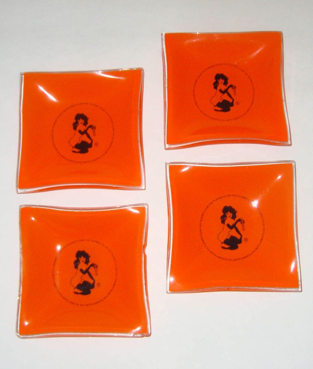 "Vintage Playboy Club Orange-Glass ""Femlin"" Ashtray Set: Icon Designed by Leroy Neiman"