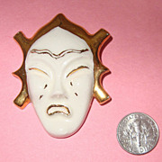 Porcelain Weeping Asian Lady Face Brooch