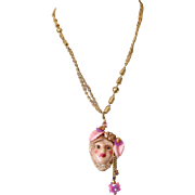 Large Lady Face Pendant Necklace: Floral Headdress