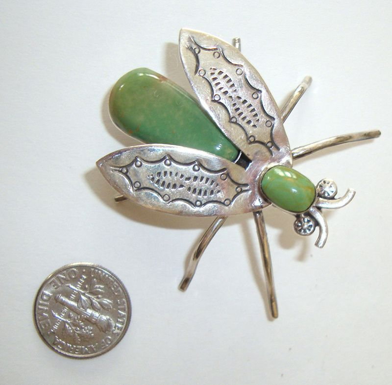 Turquoise & Sterling Fly Brooch or Pendant: Southwestern Style