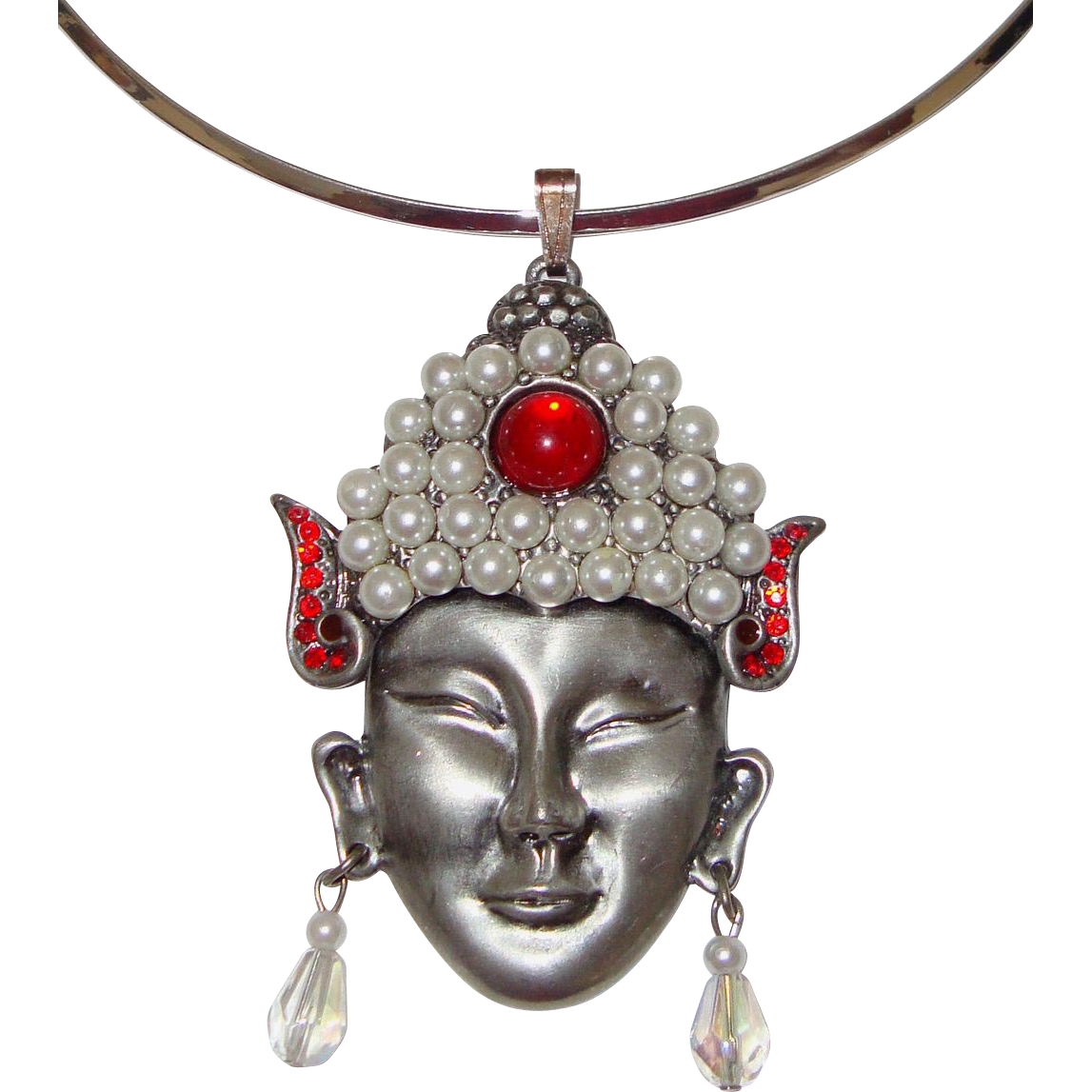 Large Thai-Dancer, Asian Lady-Face Pendant Necklace: Unsigned