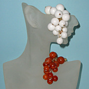 Glass-Like Grapes Brooch Duo: Western Germany: Old/New Stock