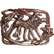 Large Art Deco-Style Borzoi or Saluki Dog Brooch: Signed: 1920s-Inspired