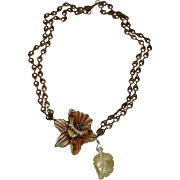 Uniquely Delightful Daffodil &  Glass Leaf Necklace:  OOAK