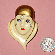 Flirty Flapper Lady Face Brooch: Ceramic-Look Resin:  Boop Boop a Doo