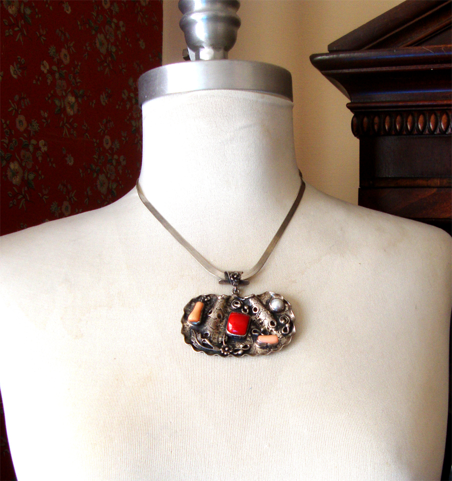 Exotic Sterling Silver Pendant Necklace:  Made in Turkey:  OOAK