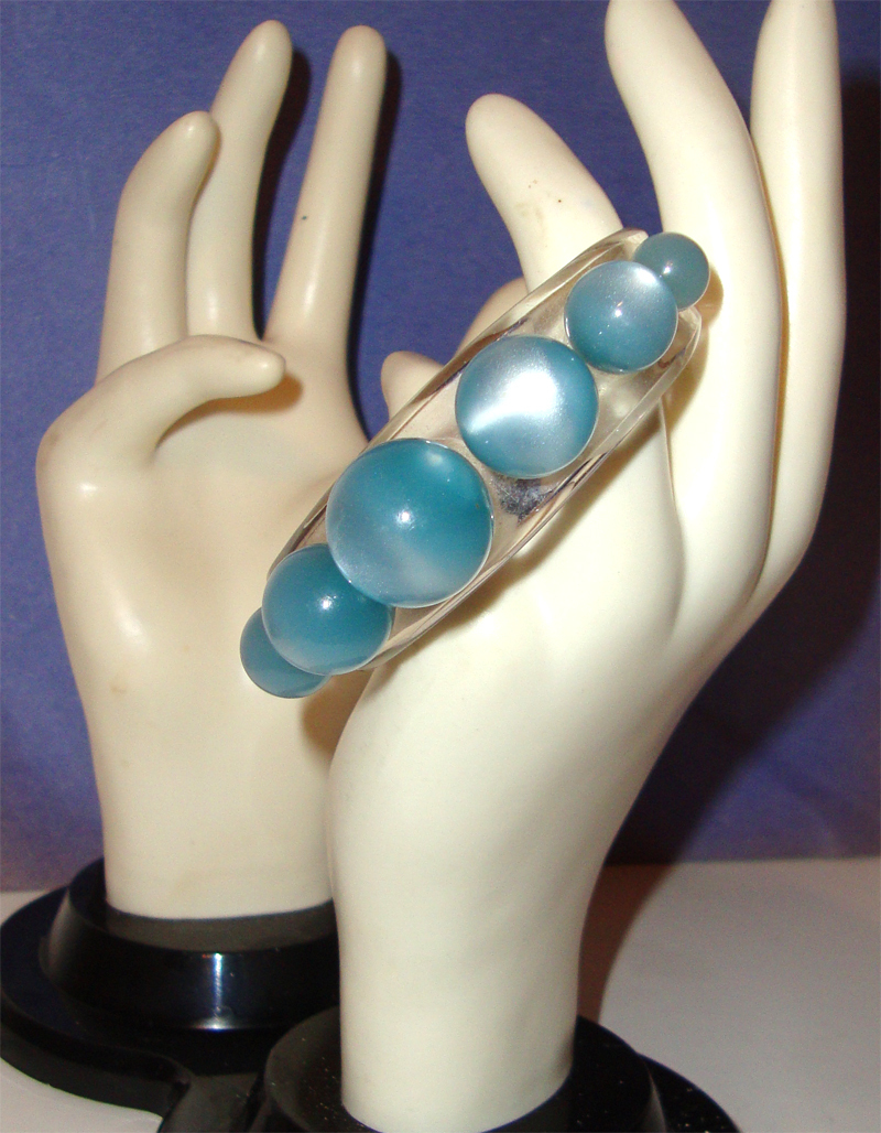 Clear Lucite & Baby-Blue Moonglow Cuff Bracelet